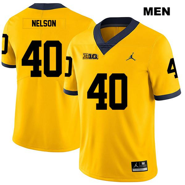 Legend Mens no. 40 Michigan Wolverines Stitched Yellow Ryan Nelson Jordan Authentic College Football Jersey - Ryan Nelson Jersey