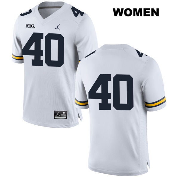 Womens no. 40 Jordan Michigan Wolverines White Stitched Ryan Nelson Authentic College Football Jersey - No Name - Ryan Nelson Jersey