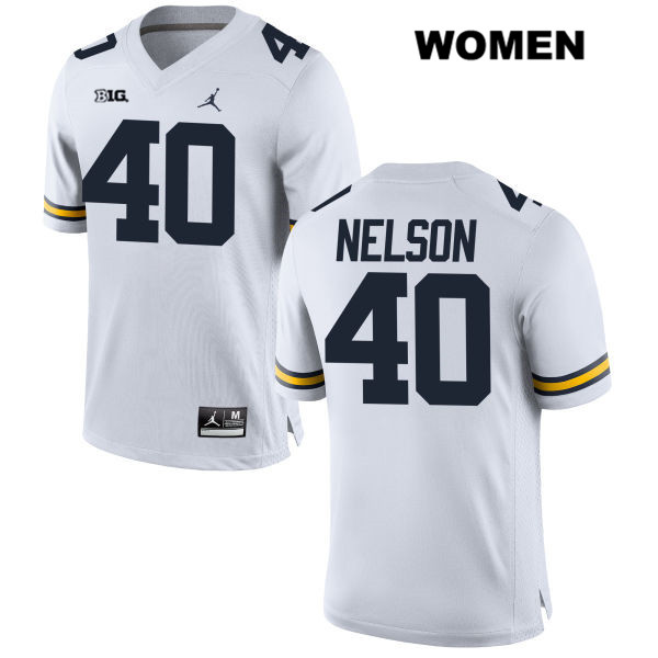 Womens Stitched no. 40 Michigan Wolverines White Ryan Nelson Jordan Authentic College Football Jersey - Ryan Nelson Jersey