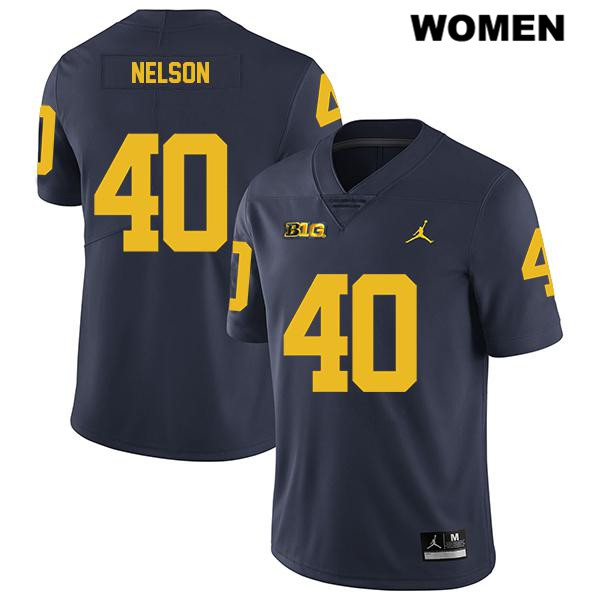 Legend Womens no. 40 Michigan Wolverines Stitched Navy Jordan Ryan Nelson Authentic College Football Jersey - Ryan Nelson Jersey
