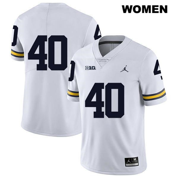 Womens Jordan no. 40 Michigan Wolverines White Ryan Nelson Stitched Legend Authentic College Football Jersey - No Name - Ryan Nelson Jersey