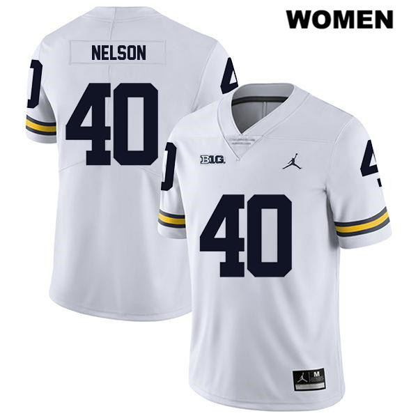 Womens no. 40 Michigan Wolverines Stitched White Legend Ryan Nelson Jordan Authentic College Football Jersey - Ryan Nelson Jersey