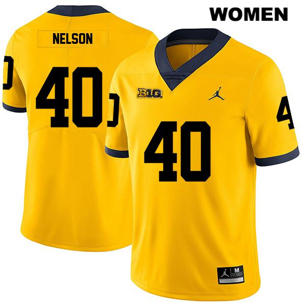 Jordan Womens no. 40 Michigan Wolverines Stitched Yellow Legend Ryan Nelson Authentic College Football Jersey - Ryan Nelson Jersey