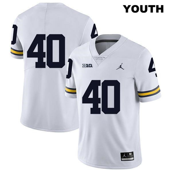 Youth no. 40 Legend Michigan Wolverines Stitched White Ryan Nelson Jordan Authentic College Football Jersey - No Name - Ryan Nelson Jersey