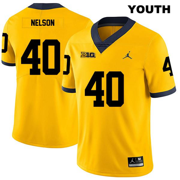 Youth Stitched no. 40 Michigan Wolverines Yellow Ryan Nelson Legend Jordan Authentic College Football Jersey - Ryan Nelson Jersey