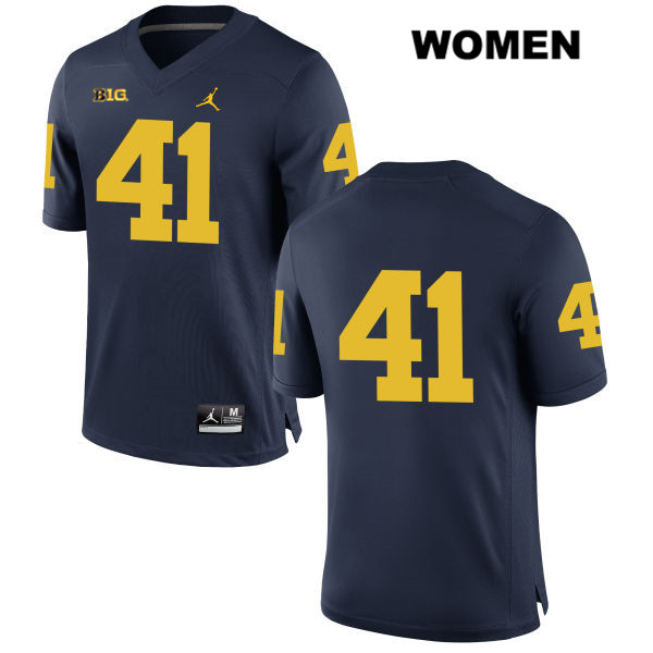 Womens no. 41 Jordan Michigan Wolverines Stitched Navy Ryan Tice Authentic College Football Jersey - No Name - Ryan Tice Jersey