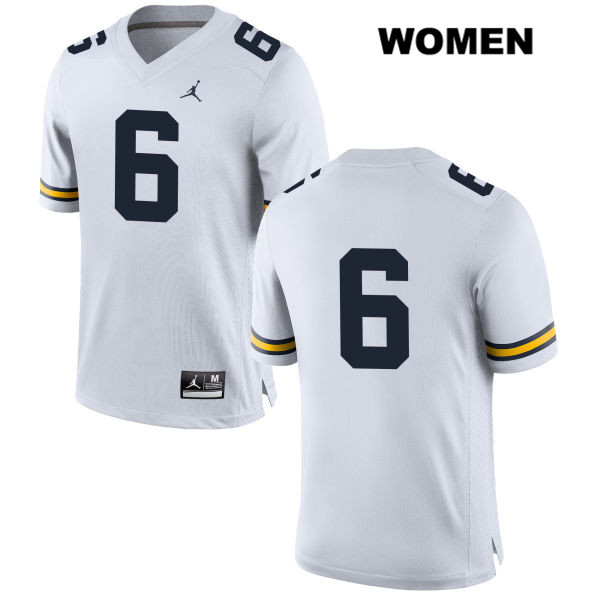 Womens no. 6 Michigan Wolverines Jordan White Ryan Tice Stitched Authentic College Football Jersey - No Name - Ryan Tice Jersey