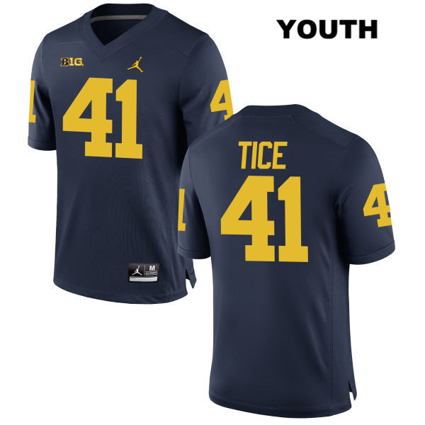 Youth no. 41 Michigan Wolverines Stitched Navy Jordan Ryan Tice Authentic College Football Jersey - Ryan Tice Jersey