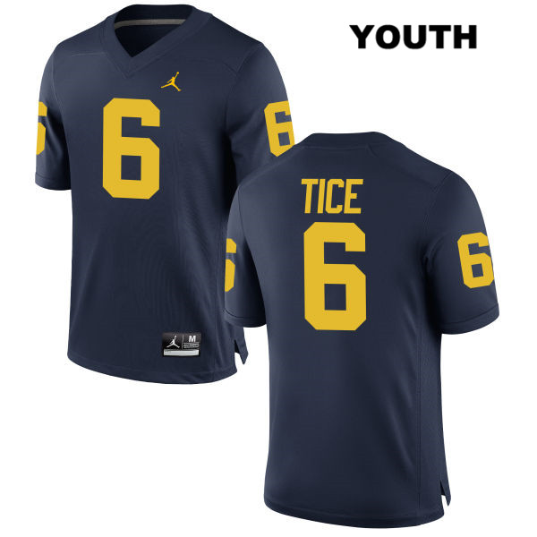 Youth no. 6 Stitched Michigan Wolverines Navy Jordan Ryan Tice Authentic College Football Jersey - Ryan Tice Jersey