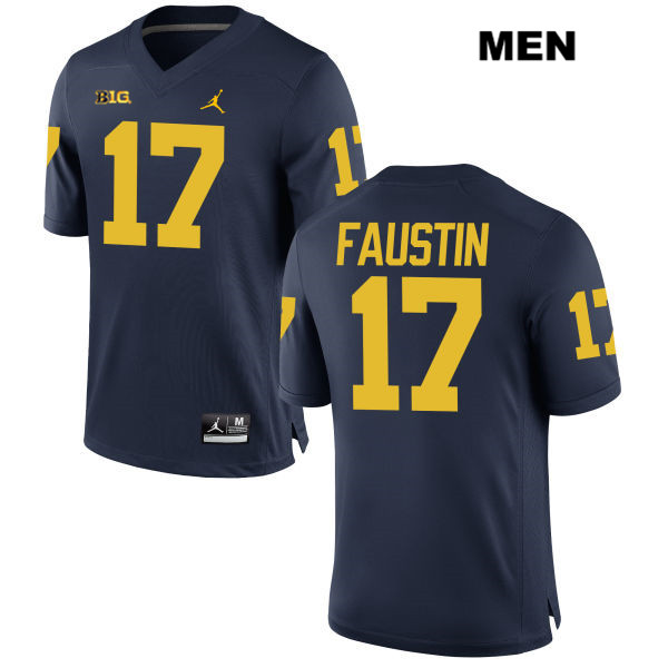 Mens no. 17 Michigan Wolverines Navy Jordan Sammy Faustin Stitched Authentic College Football Jersey - Sammy Faustin Jersey