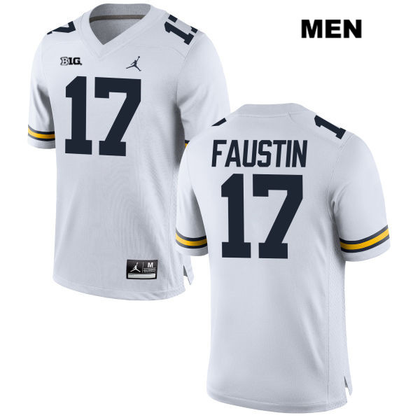 Mens Stitched no. 17 Michigan Wolverines White Jordan Sammy Faustin Authentic College Football Jersey - Sammy Faustin Jersey