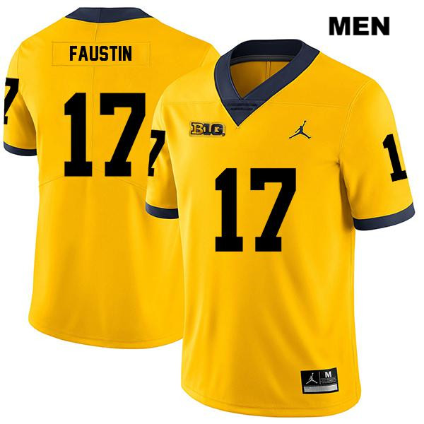 Mens Stitched no. 17 Legend Michigan Wolverines Yellow Sammy Faustin Jordan Authentic College Football Jersey - Sammy Faustin Jersey