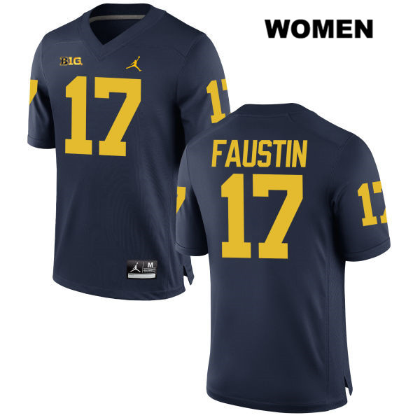Womens Jordan no. 17 Michigan Wolverines Navy Stitched Sammy Faustin Authentic College Football Jersey - Sammy Faustin Jersey