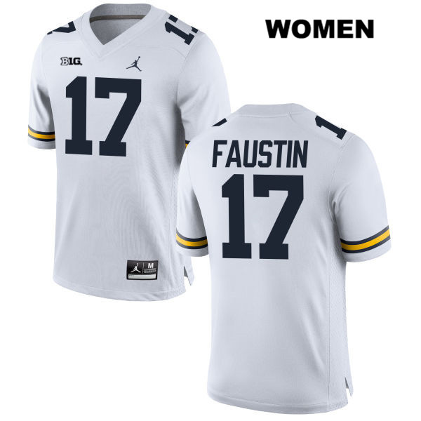 Womens no. 17 Michigan Wolverines Stitched White Jordan Sammy Faustin Authentic College Football Jersey - Sammy Faustin Jersey