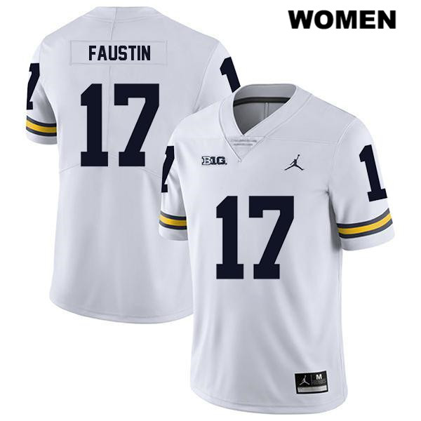 Womens Jordan no. 17 Stitched Michigan Wolverines Legend White Sammy Faustin Authentic College Football Jersey - Sammy Faustin Jersey