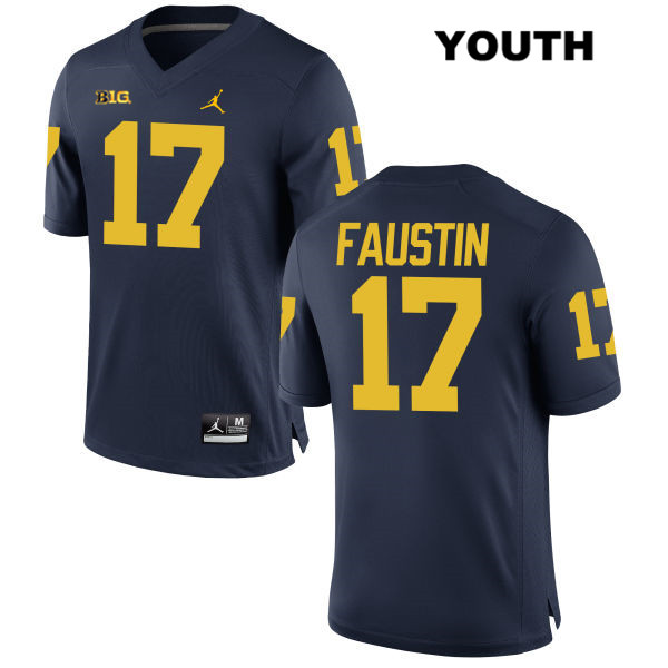 Youth Stitched no. 17 Jordan Michigan Wolverines Navy Sammy Faustin Authentic College Football Jersey - Sammy Faustin Jersey