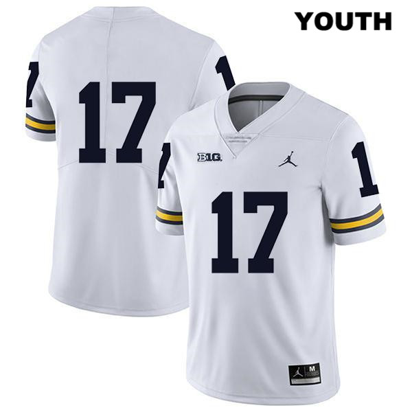 Youth no. 17 Jordan Michigan Wolverines Legend White Stitched Sammy Faustin Authentic College Football Jersey - No Name - Sammy Faustin Jersey