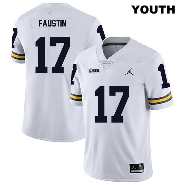Youth Stitched no. 17 Michigan Wolverines Jordan White Legend Sammy Faustin Authentic College Football Jersey - Sammy Faustin Jersey