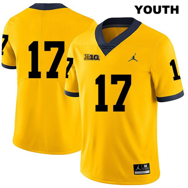 Legend Youth no. 17 Michigan Wolverines Stitched Yellow Jordan Sammy Faustin Authentic College Football Jersey - No Name - Sammy Faustin Jersey