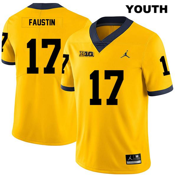 Youth no. 17 Stitched Jordan Michigan Wolverines Yellow Sammy Faustin Legend Authentic College Football Jersey