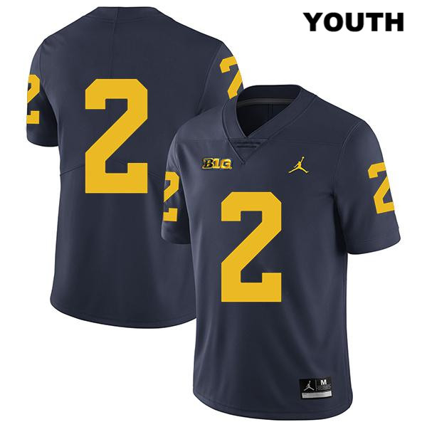 Stitched Youth Jordan no. 2 Michigan Wolverines Navy Legend Shea Patterson Authentic College Football Jersey - No Name