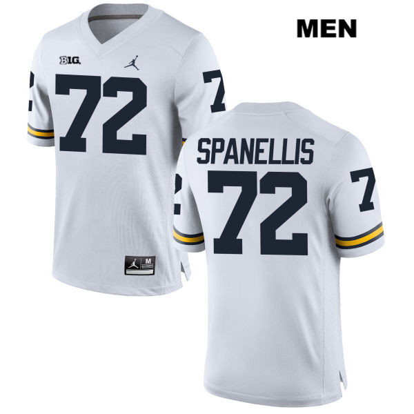 Jordan Mens no. 72 Stitched Michigan Wolverines White Stephen Spanellis Authentic College Football Jersey - Stephen Spanellis Jersey