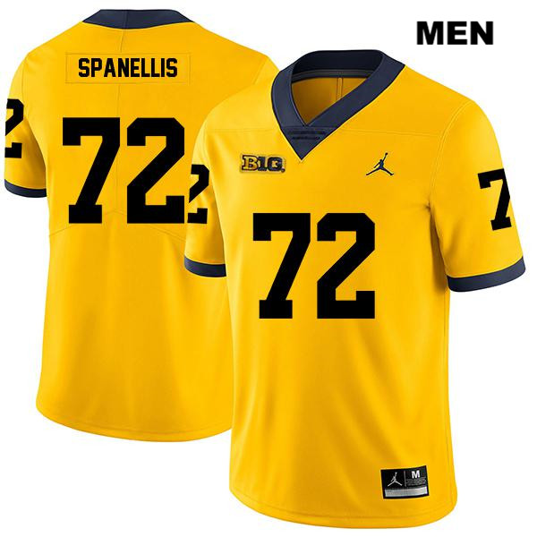 Mens no. 72 Stitched Michigan Wolverines Yellow Legend Stephen Spanellis Jordan Authentic College Football Jersey - Stephen Spanellis Jersey