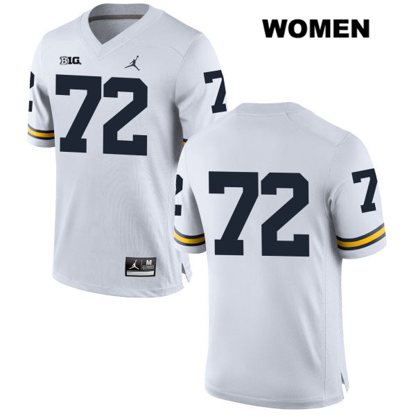 Womens Stitched no. 72 Michigan Wolverines White Jordan Stephen Spanellis Authentic College Football Jersey - No Name - Stephen Spanellis Jersey