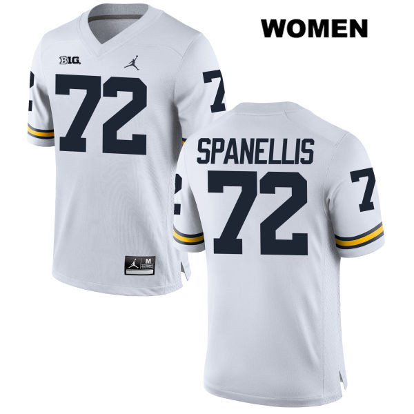 Womens Stitched no. 72 Michigan Wolverines White Stephen Spanellis Jordan Authentic College Football Jersey - Stephen Spanellis Jersey