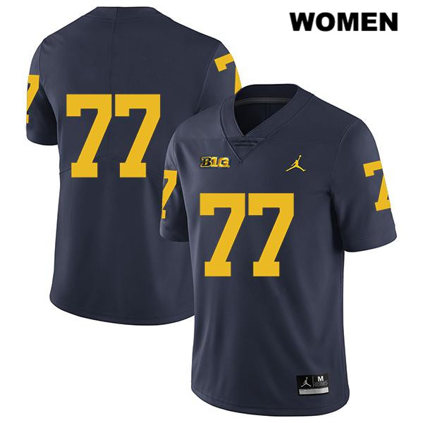 Womens Legend no. 77 Stitched Michigan Wolverines Navy Jordan Trevor Keegan Authentic College Football Jersey - No Name - Trevor Keegan Jersey