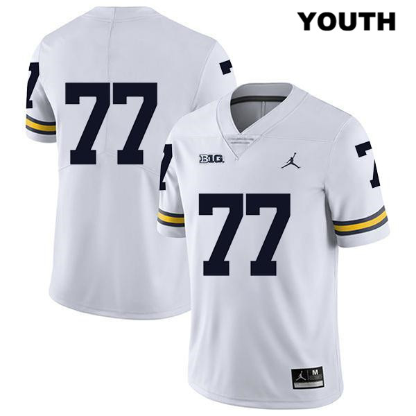 Legend Youth no. 77 Jordan Michigan Wolverines White Stitched Trevor Keegan Authentic College Football Jersey - No Name - Trevor Keegan Jersey