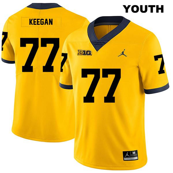 Jordan Youth no. 77 Michigan Wolverines Legend Yellow Stitched Trevor Keegan Authentic College Football Jersey - Trevor Keegan Jersey
