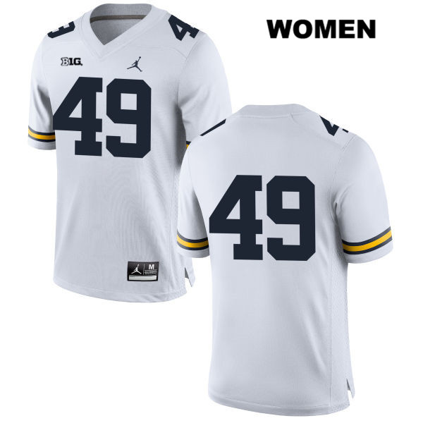 Womens no. 49 Michigan Wolverines Stitched White Jordan Tyler Plocki Authentic College Football Jersey - No Name - Tyler Plocki Jersey
