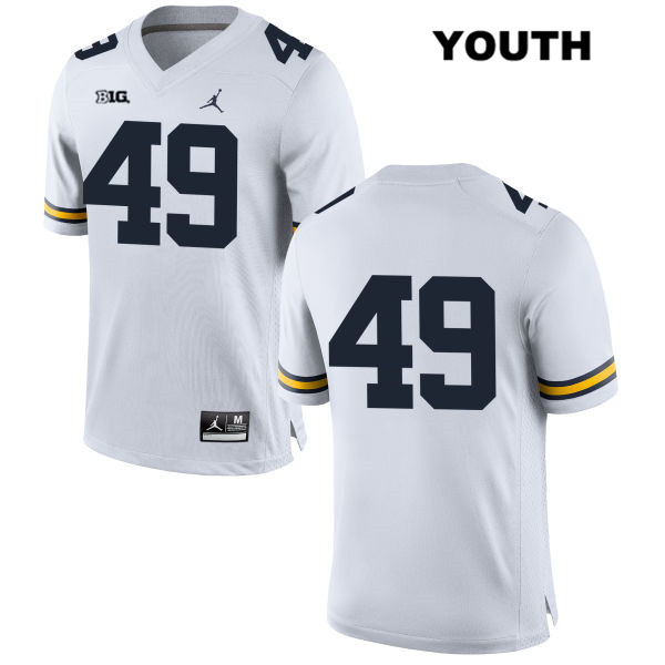 Youth no. 49 Jordan Michigan Wolverines White Tyler Plocki Stitched Authentic College Football Jersey - No Name - Tyler Plocki Jersey