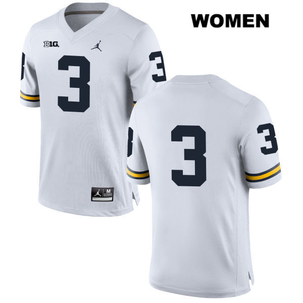 Womens no. 3 Michigan Wolverines White Jordan Wilton Speight Stitched Authentic College Football Jersey - No Name - Wilton Speight Jersey