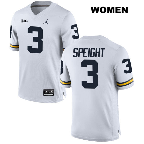 Jordan Womens no. 3 Michigan Wolverines Stitched White Wilton Speight Authentic College Football Jersey - Wilton Speight Jersey