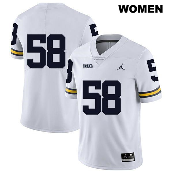Stitched Womens Legend no. 58 Jordan Michigan Wolverines White Zach Carpenter Authentic College Football Jersey - No Name