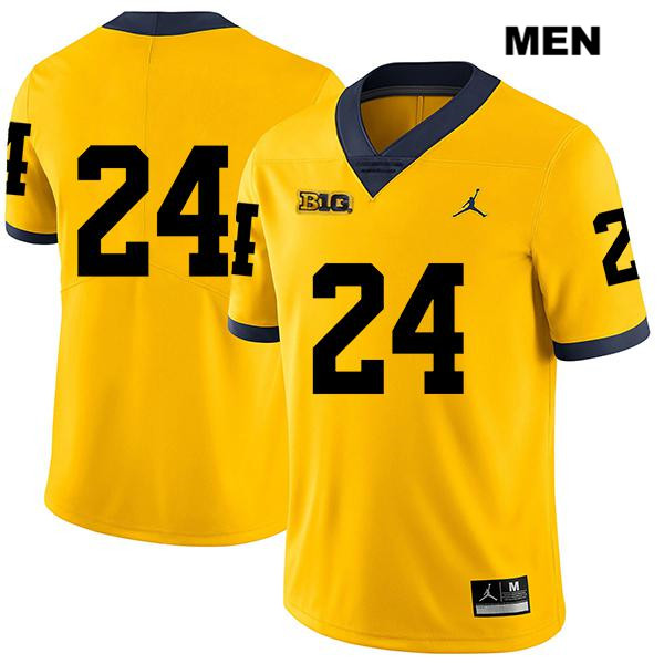 Mens no. 24 Stitched Michigan Wolverines Legend Yellow Jordan Zach Charbonnet Authentic College Football Jersey - No Name - Zach Charbonnet Jersey