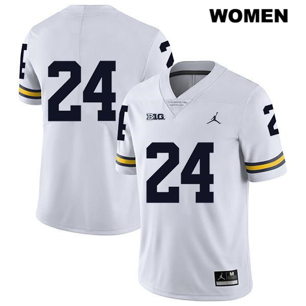 Legend Womens no. 24 Jordan Michigan Wolverines Stitched White Zach Charbonnet Authentic College Football Jersey - No Name - Zach Charbonnet Jersey