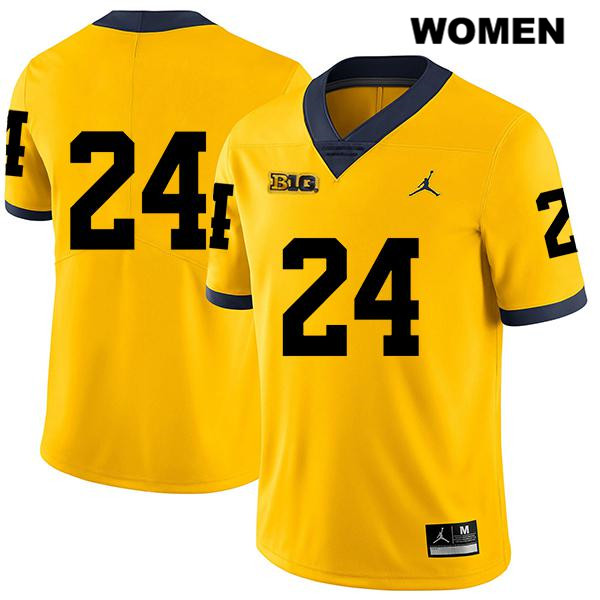 Womens no. 24 Stitched Michigan Wolverines Legend Yellow Zach Charbonnet Jordan Authentic College Football Jersey - No Name - Zach Charbonnet Jersey