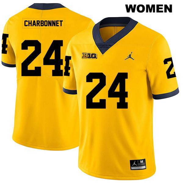 Womens Legend Jordan no. 24 Stitched Michigan Wolverines Yellow Zach Charbonnet Authentic College Football Jersey - Zach Charbonnet Jersey