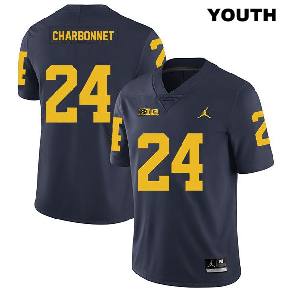 Youth Jordan no. 24 Michigan Wolverines Navy Legend Zach Charbonnet Stitched Authentic College Football Jersey - Zach Charbonnet Jersey