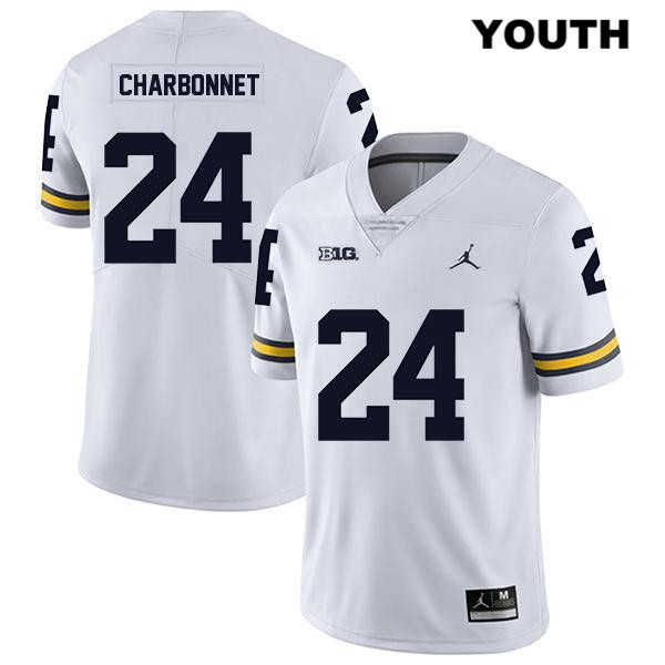 Youth no. 24 Michigan Wolverines Legend White Jordan Zach Charbonnet Stitched Authentic College Football Jersey - Zach Charbonnet Jersey