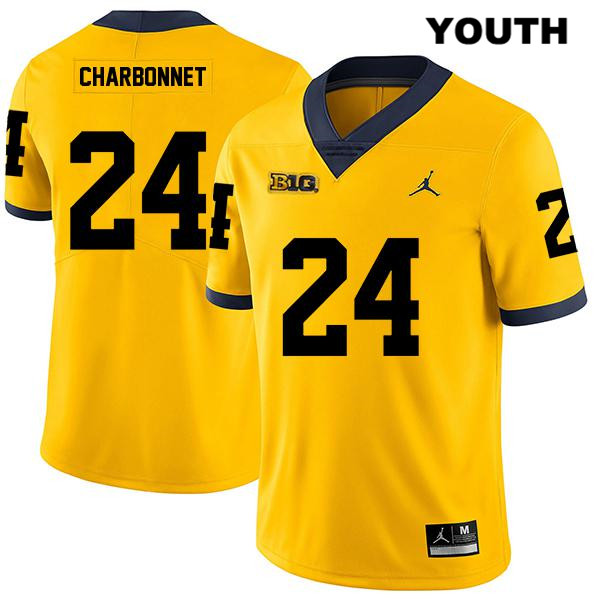Youth no. 24 Michigan Wolverines Yellow Stitched Jordan Zach Charbonnet Legend Authentic College Football Jersey - Zach Charbonnet Jersey
