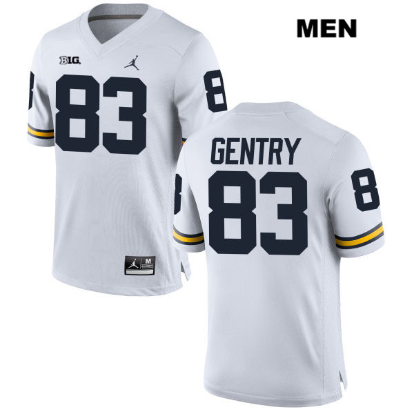 Stitched Mens no. 83 Michigan Wolverines White Jordan Zach Gentry Authentic College Football Jersey - Zach Gentry Jersey