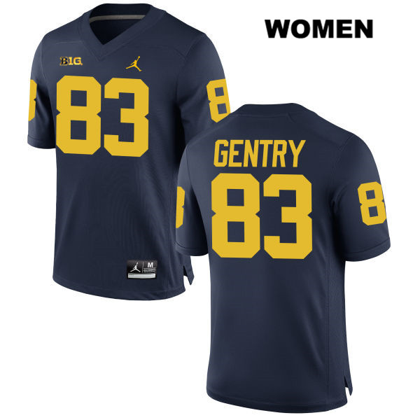 Womens Jordan Stitched no. 83 Michigan Wolverines Navy Zach Gentry Authentic College Football Jersey - Zach Gentry Jersey
