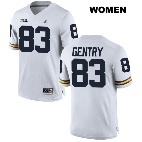 Womens Stitched no. 83 Michigan Wolverines White Jordan Zach Gentry Authentic College Football Jersey - Zach Gentry Jersey